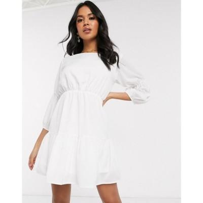 アックスパリス ミディドレス レディース AX Paris tiered mini dress in cream エイソス ASOS