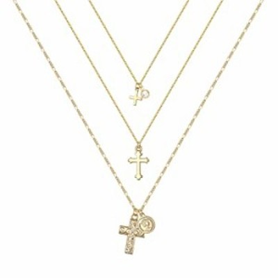 MONOZO Layered Gold Cross Necklace for Women Girls 14k Gold Filled Dainty