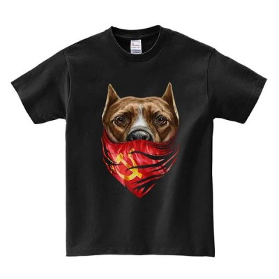【ピットブルドッグ・バンダナ・ソビエト連邦】メンズ 半袖 Tシャツ ブラック
