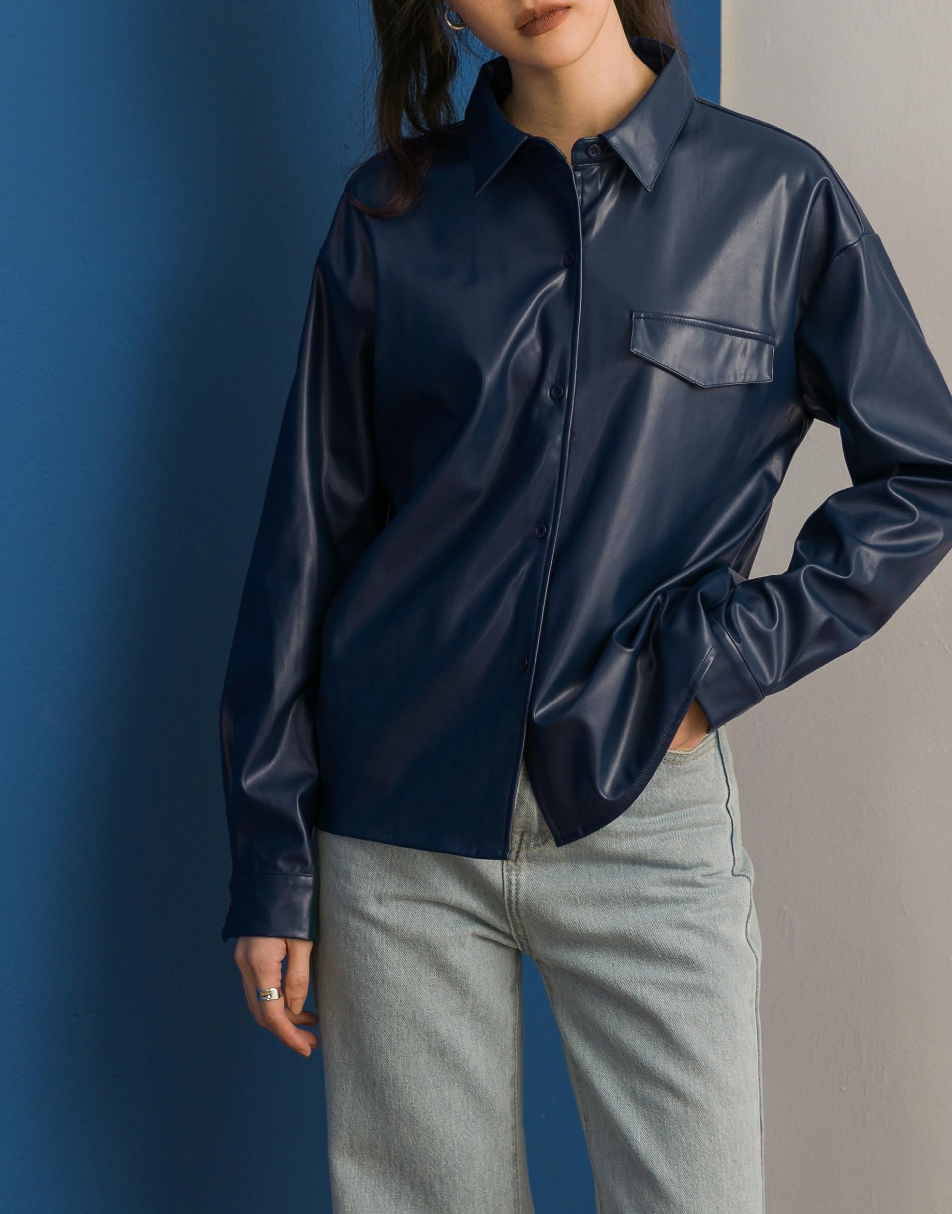 Textured Leather皮革襯衫-女-Genquo