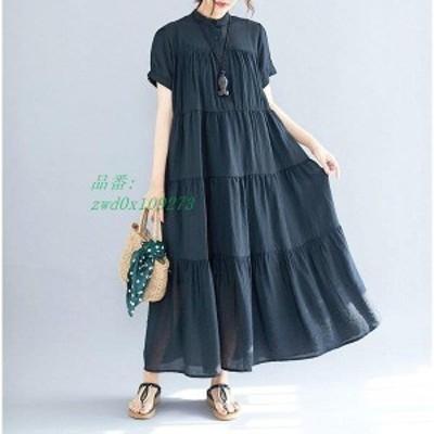 マキシワンピース 黒ワンピース 韓国風 夏 オシャレ ロングTシャツ 体型カバー 半袖 カジュアル ワンピース 上品 フレア 40代 レディー