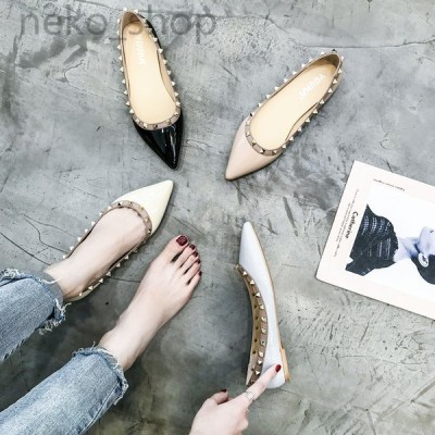 レディース ポインテッドトゥ フラット ぺたんこパンプス リベット付き ローファー 婦人靴 シューズ 痛くない カジュアル 履きやすい 通勤OL 歩きやすい 3色