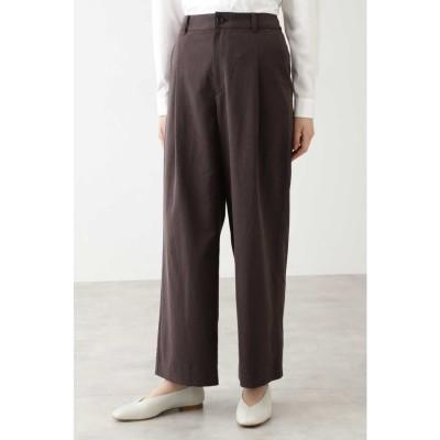 ◆セルロース綿/PE麻ツイルパンツ ブラウン