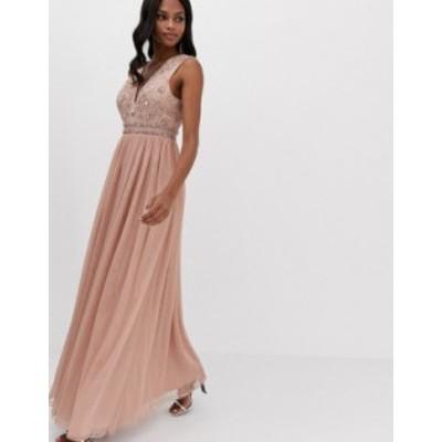 エイソス レディース ワンピース トップス ASOS DESIGN maxi dress with embellished bodice and tulle skirt Soft blush