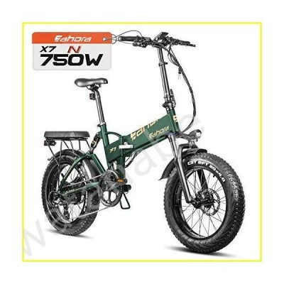 """eAhora X7 N 750W 20"""" Fat Tire Cruise Control Folding Electric Bike, Electric Bikes for Adults, Dual Disc Brakes/Shimano 7 Speed System for Commuting B"""
