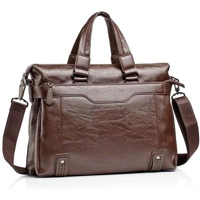 トートバッグ メンズ ビジネスバッグ 革 カバン キャリーオンバッグ かばん 男性用 レザー 肩掛け 通勤 出張 3way(ブラウン)