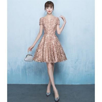 ウェディングドレス ショートドレス パーティードレス 10代 20代 30代 ワンピース おしゃれ フォーマル お呼ばれ カラードレス ワンピ ミニドレス[カーキ色]