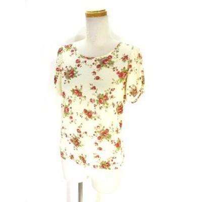 【中古】クリスプ Crisp Tシャツ カットソー 半袖 花柄 総柄 アイボリー レディース