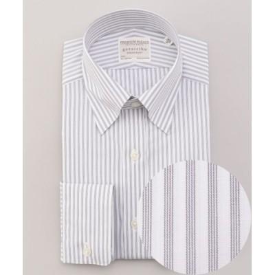 gotairiku/ゴタイリク 【形態安定】PREMIUMPLEATS ドレスシャツ / スナップボタンカラー グレー系1 14H