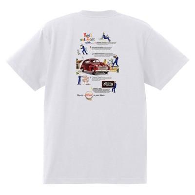 アドバタイジング フォード Tシャツ 白 1094 黒地へ変更可 1946 ホットロッド ローライダー ロカビリー アドバタイズメント レッドスレッド