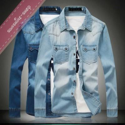 メンズ シャツ デニムシャツ 棉コットン ジンーズ ウエスタン 無地 Yシャツ カジュアルシャツ