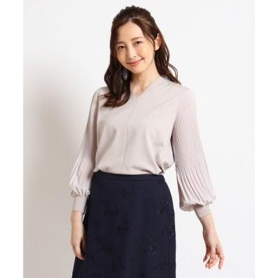ニット 【洗える】袖プリーツニットプルオーバー
