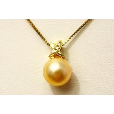 アコヤ真珠パールペンダントトップ 9.0-9.5mm ゴールドカラー K18製/D0.02ct