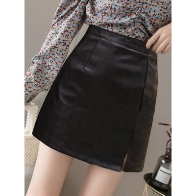 レディース ファッション 秋 冬 フェイクレザー スカート ミニ丈 台形スカート 無地 上品 きれいめ 大人 シンプル トレンド おしゃれ