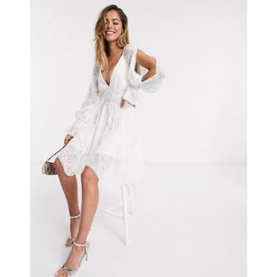 フォーエバーニュー ミニドレス レディース Forever New belted mini dress with cutout details in white エイソス ASOS ホワイト 白