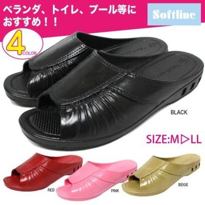 レディース サンダル 靴 黒 ピンク 赤 レッド 茶 ブラック ベージュ ベランダ 庭 婦人 softline 5748