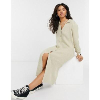 エイソス レディース ワンピース トップス ASOS DESIGN knitted dress with collar detail and button up front Oatmeal