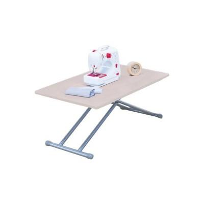 ファミリー・ライフ NEW木製昇降式フリ-テーブルライトブラウン ブラウン 使用時:(約)幅85奥行50高さ28〜56cm、収