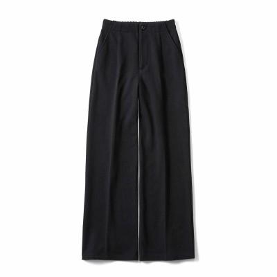布はく見えなのに実はカットソーで伸びやか ヘリンボーン柄が上品なワイドパンツ〈ブラック〉 リブ イン コンフォート フェリシモ FELISSIMO