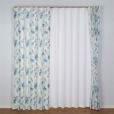 [100×135]カーテンアジサイ ブルー 2枚入 ウォッシャブル