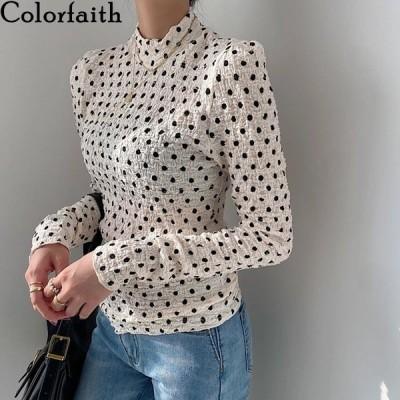 海外輸入アパレル Colorfaith New 2021 Women Spring Autumn Blouse Shirts Stand Collar