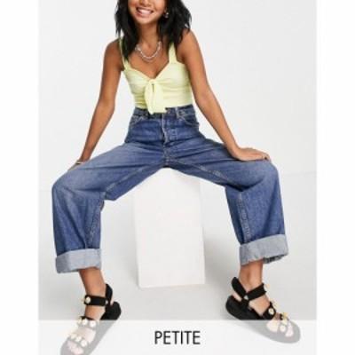 トップショップ Topshop Petite レディース ジーンズ・デニム ボトムス・パンツ mid blue oversized mom jeans ブルー