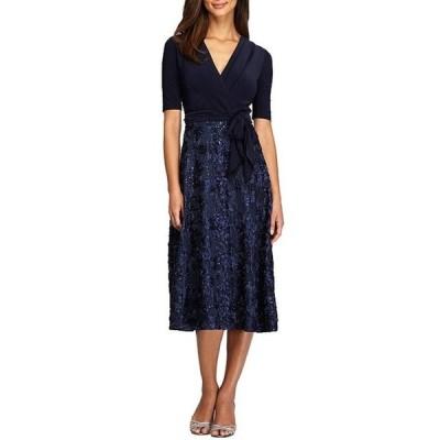 アレックスイブニングス レディース ワンピース トップス Petite Size Rosette Skirt A-Line Dress