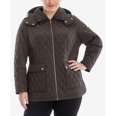 マイケルコース コート アウター レディース Plus Size Hooded Quilted Coat Dark Moss