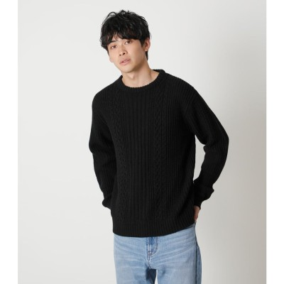 CABLE KNITTING PULLOVER BLK