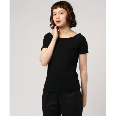 tシャツ Tシャツ 5分袖カットリブボートネックプルオーバー