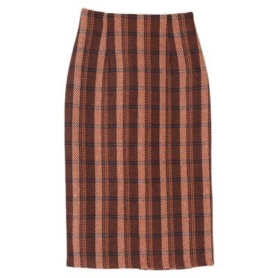 ユアーズ ur's タータンチェックロングタイトスカート (オレンジ)