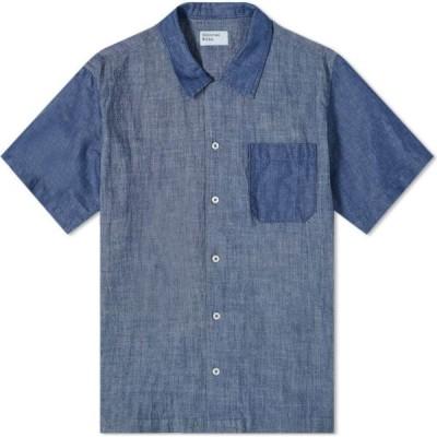 ユニバーサルワークス Universal Works メンズ 半袖シャツ シャンブレーシャツ トップス Chambray Mix Road Shirt Indigo