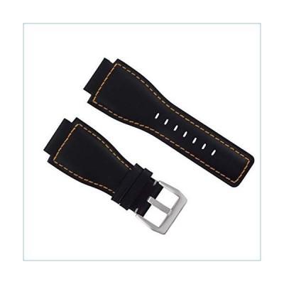 24MM Genuine Watch Strap Smooth Band for Bell Ross BR-01-BR-03 Black Orange STIT並行輸入品