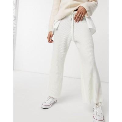 アックスパリ レディース カジュアルパンツ ボトムス AX Paris ribbed knitted pants in white