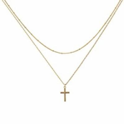 Befettly 小さな十字架ネックレス レディース 14K金張り 光沢 信仰ネックレス 上品なサークルペンダントネックレス 十字架 かわいいハー