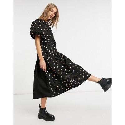 エイソス ASOS DESIGN レディース ワンピース ミドル丈 Asos Design Cotton Poplin Puff Sleeve Midi Dress In Metallic Star Embroidery In Black ブラック
