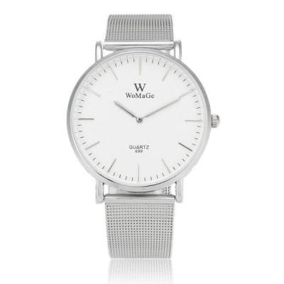 超薄型 ミニマムデザイン シンプル 2針 /WOMAGE699 メンズ レディース クォーツ腕時計 /白文字盤 銀ベゼル 銀ベルト 送料無料