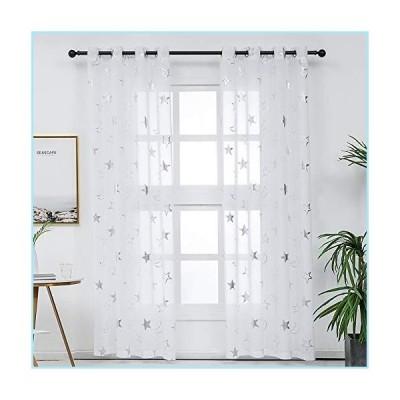 新品Kotile Star Curtains 84 Inch Length - Grommet Top Silver White Sheer Curtains Kids Star Sheer Curtains for Nursery Room 2 Panels, 52 x