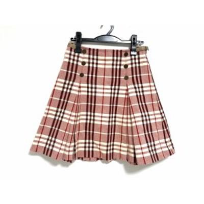 バーバリーブルーレーベル スカート サイズ38 M レディース - ボルドー×アイボリー×黒 ひざ丈/チェック柄【中古】20201114