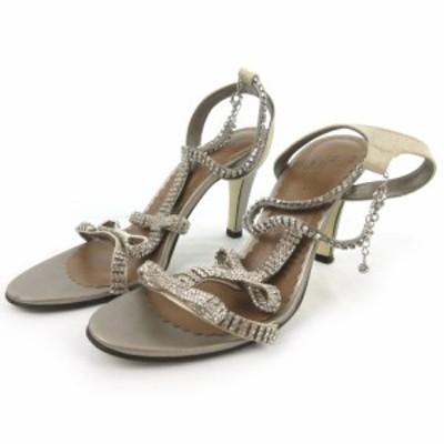 【中古】ダイアグラム グレースコンチネンタル Diagram サンダル ミュール ストラップ ビジュー 装飾 リボン ゴールド 38 約24cm 靴