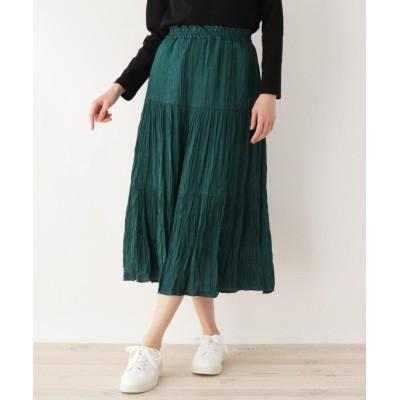 (SHOO・LA・RUE DRESKIP/シューラルー ドレスキップ)しわプリーツティアードスカート/レディース グリーン(022)