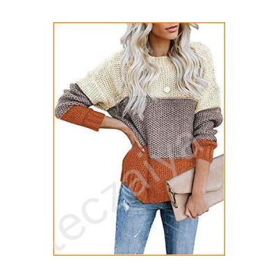 Lovezesent Womens Striped Color Block Chunky Sweaters Long Sleeve Crewneck Knitted Pullover Jumper Tops Yellow Small並行輸入品