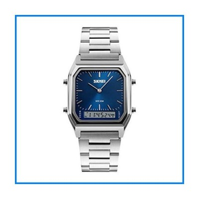 Classic Dual Time Analogue-Digital Watch,Square Dial Stainless Steel Strap