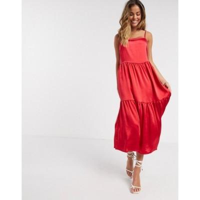 ヴィラ レディース ワンピース トップス Vila satin midi dress with cami sleeves in pink