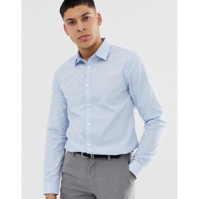 ニュールック ワークシャツ メンズ New Look poplin shirt in regular fit in light blue エイソス ASOS