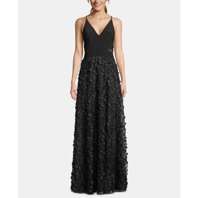 エックススケープ XSCAPE レディース パーティードレス ワンピース・ドレス Flower-Skirt Gown Black