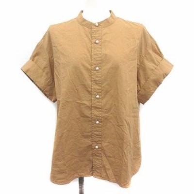 【中古】スピック&スパン Spick&Span 20SS ノーカラーシャツ ブラウス パールボタン タックスリーブ 半袖 F キャメル
