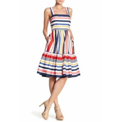 Vince ヴィンス ファッション ドレス Vince Camuto NEW Blue Womens Size 14 Multi-Striped A-Line Dress