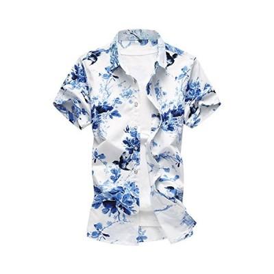 Men's Hawaiian Shirt Flower 3D Printing Casual Button Down Short Sleeve Shirt Floral【並行輸入品】