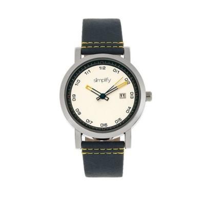 シンプリファイ レディース 腕時計 アクセサリー Quartz The 5300 White Dial Genuine Blue Leather Watch 40mm